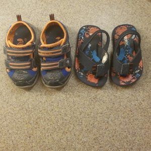2 pairs of Boys toddler shoes sneakers sand